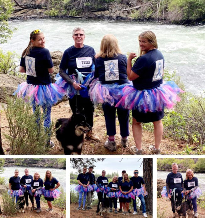 Group of people wearing tutus and walking next to river